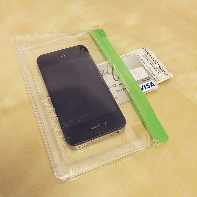phone and credit cards on a waterproof pouch