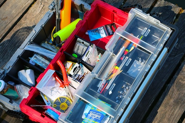 tackle box containing different fishing accessories